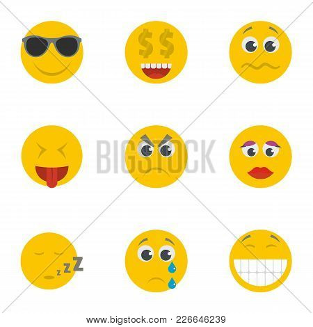 Smile Icons Set. Cartoon Set Of 9 Smile Vector Icons For Web Isolated On White Background