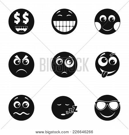 Emoji Smile Icons Set. Simple Set Of 9 Emoji Smile Vector Icons For Web Isolated On White Background
