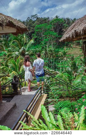 Happy Couple Walking At The Rice Terraces, Holds Hands. Traveling At Bali. Honeymoon Summer Travel A