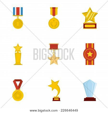 Accolade Icons Set. Cartoon Set Of 9 Accolade Vector Icons For Web Isolated On White Background