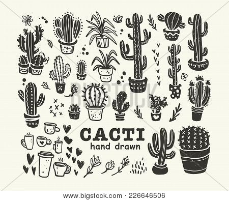 Vector Collection Of Black Hand Drawn Cactus Sketch Collection Isolated On White Background. Flat Ca