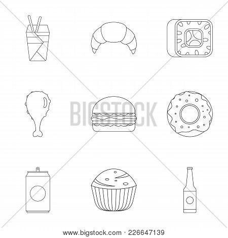 Farinaceous Food Icons Set. Outline Set Of 9 Farinaceous Food Vector Icons For Web Isolated On White