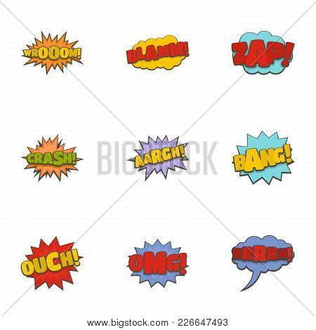 Cinema Banner Icons Set. Cartoon Set Of 9 Cinema Banner Vector Icons For Web Isolated On White Backg