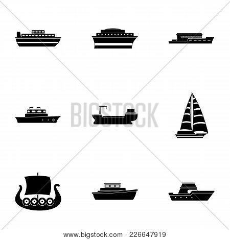 Motorship Icons Set. Simple Set Of 9 Motorship Vector Icons For Web Isolated On White Background