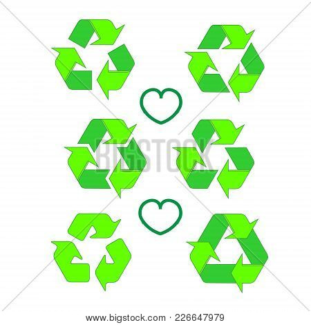Recycled Eco Vector Icon Set. Recycle Arrows Ecology Symbol. Recycled Cycle Arrow. Vector Illustrati