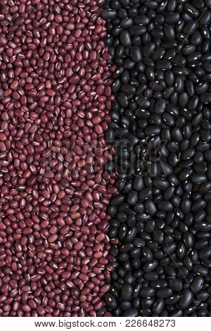 A Shot Of Medium-sized Black Beans And Small Adzuki Beans (azuki, Aduki, Red Mung Beans). Background