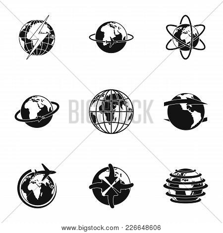 Planetary Icons Set. Simple Set Of 9 Planetary Vector Icons For Web Isolated On White Background