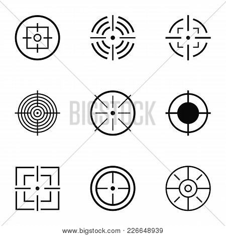 Aim Icons Set. Simple Set Of 9 Aim Vector Icons For Web Isolated On White Background