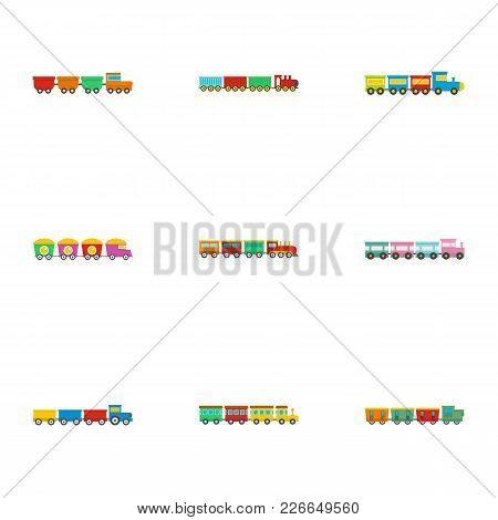 Children Train Icons Set. Flat Set Of 9 Children Train Vector Icons For Web Isolated On White Backgr