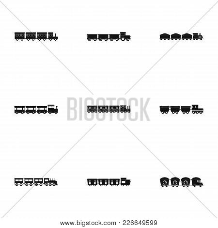 Baby Train Icons Set. Simple Set Of 9 Baby Train Vector Icons For Web Isolated On White Background