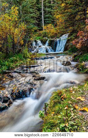 Cascading Stream At Big Hill Springs Provincial Park Near Calgary In Alberta. A Favorite Park For Hi