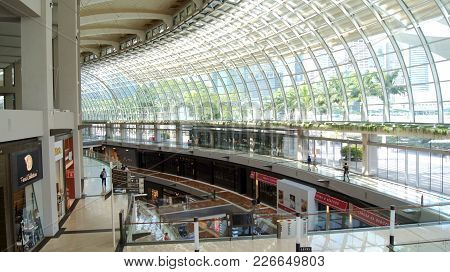Singapore - Apr 1st, 2015: Inside View Of The Marina Bay Sands Hotel, Lobby Of One Of The Most Luxur
