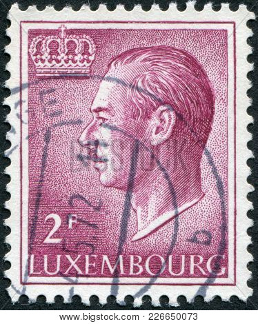 Luxembourg - Circa 1966: A Stamp Printed In Luxembourg, Is Depicted Jean, Grand Duke Of Luxembourg,