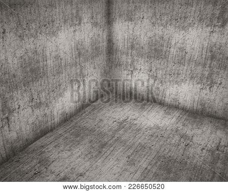 Corner of Old Concrete Room Grunge Background. 3D Illustration.