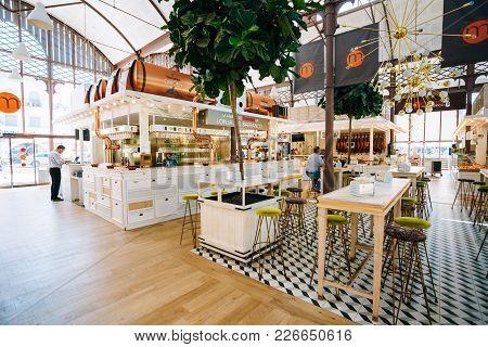 Seville, Spain - June 24, 2015: Food Market And A Spanish Restaurant Mercado Gourmet Lonja Del Barra