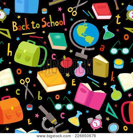 Vector Seamless Pattern With School Elements Isolated On Black Background. Back To School Background