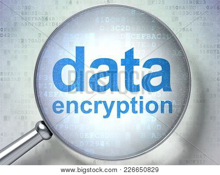 Security Concept: Magnifying Optical Glass With Words Data Encryption On Digital Background, 3d Rend