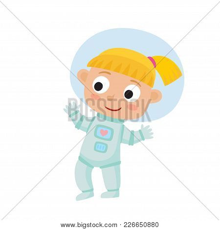 Standing Astronaut Kid Isolated On White Background. Cartoon Pretty Blonde Girl Wearing Astronaut Co