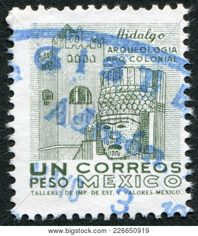 Mexico - Circa 1950: A Stamp Printed In The Mexico, Shows A Stone Figures Of The Ancient City Of Tul