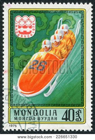 Mongolia-circa 1975: A Stamp Printed In The Mongolia, Devoted To The Xii Winter Olympic Games, Innsb
