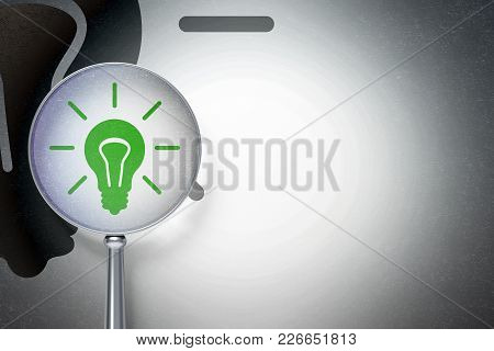 Business Concept: Magnifying Optical Glass With Light Bulb Icon On Digital Background, Empty Copyspa