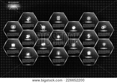 Set Of Glossy Vector Banners With Shiny Lights Over Black Pattern Background For Business Design, Re