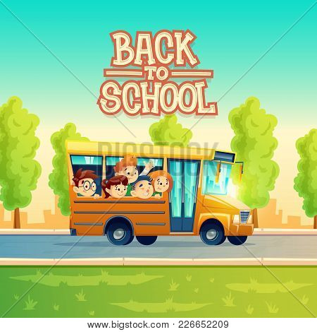 Back To School Vector Concept Illustration With Cheerful Smiling Kids, Happy Pupils, Riding On Yello