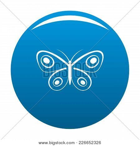 Tiny Butterfly Icon Vector Blue Circle Isolated On White Background