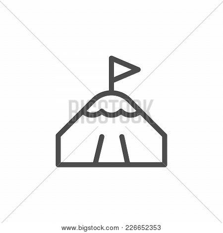 Mountain Peak Line Icon Isolated On White. Vector Illustration