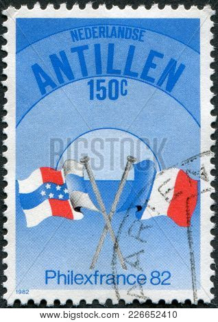 Netherlands Antilles - Circa 1982: A Stamp Printed In Netherlands Antilles, Is Dedicated To Philexfr