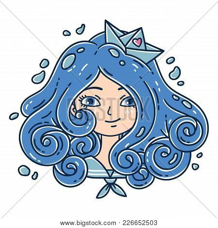 Girl With Curly Hair. Sea Girl. Girl With Blue Hair. Paper Boat. Isolated Objects On White Backgroun