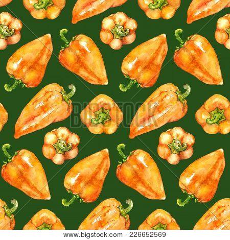 Watercolor Orange Yellow Sweet Bell Bulgarian Pepper Vegetable Seamless Pattern Texture Background