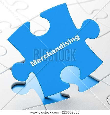 Marketing Concept: Merchandising On Blue Puzzle Pieces Background, 3d Rendering
