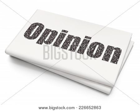 Marketing Concept: Pixelated Black Text Opinion On Blank Newspaper Background, 3d Rendering