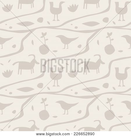 Ancient Man Wall Painting Seamless Pattern. For Print, Fashion Design, Wrapping, Wallpaper