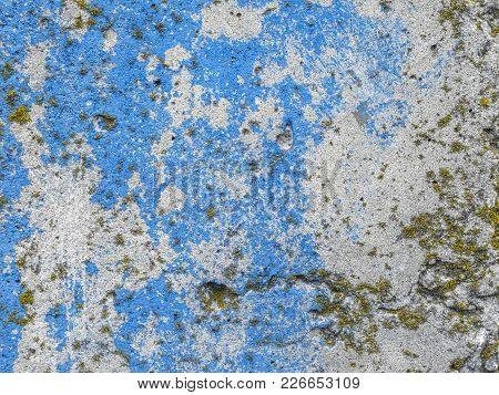 Texture Of The Cement Wall. Texture With Blue And White Paint, Scratches, Part Of The Texture With L