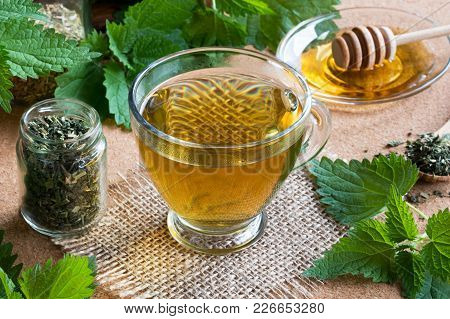 A Cup Of Nettle Tea With Fresh And Dry Stinging Nettles In The Background
