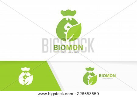 Vector Bag And Leaf Logo Combination. Sack And Eco Symbol Or Icon. Unique Money And Organic Logotype