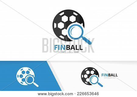 Vector Soccer And Loupe Logo Combination. Ball And Magnifying Symbol Or Icon. Unique Football And Se