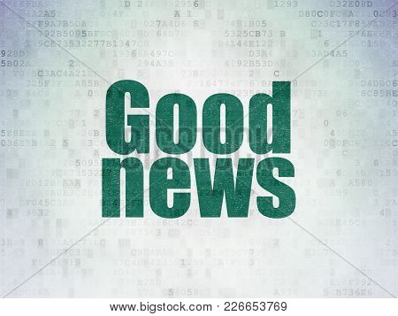 News Concept: Painted Green Word Good News On Digital Data Paper Background