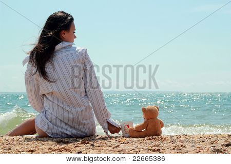 Cute girl near the sea