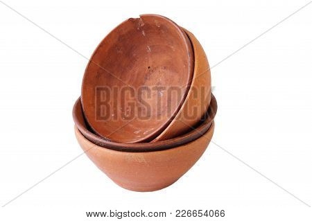 A Set Of Wine Clay Terracotta Cups On A White Background, Isolated