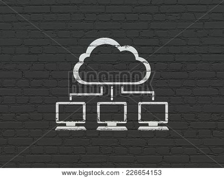 Cloud Networking Concept: Painted White Cloud Network Icon On Black Brick Wall Background