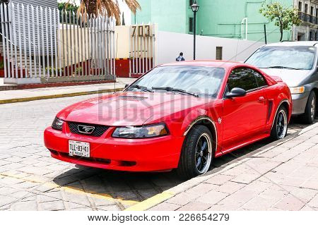 Oaxaca, Mexico - May 25, 2017: Sports Car Ford Mustang In The City Street.