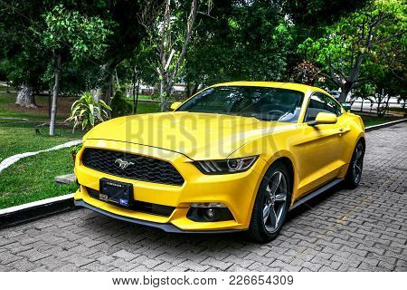 Oaxaca, Mexico - May 25, 2017: Muscle Car Ford Mustang At The Countryside.