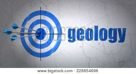 Success Studying Concept: Arrows Hitting The Center Of Target, Blue Geology On Wall Background, 3d R