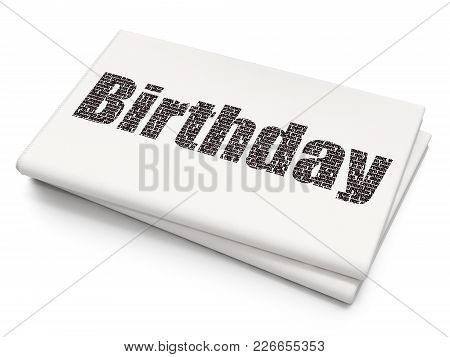 Holiday Concept: Pixelated Black Text Birthday On Blank Newspaper Background, 3d Rendering
