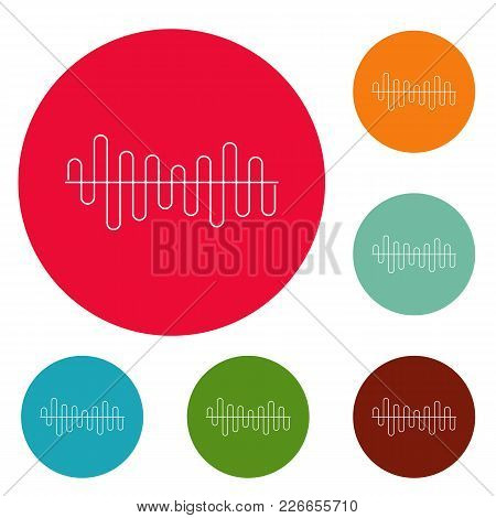 Equalizer Volume Sound Icons Circle Set Vector Isolated On White Background