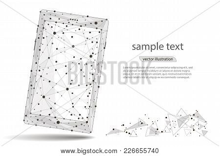 Abstract Design Of Mobile Phone Smartphone. Isolated From Low Poly Wireframe On White Background. Ve
