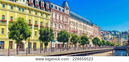 Czech Republic. Karlovy Vary. Panorama of the city. Famous city in western Bohemia, very popular tourist destination in Czech Republic